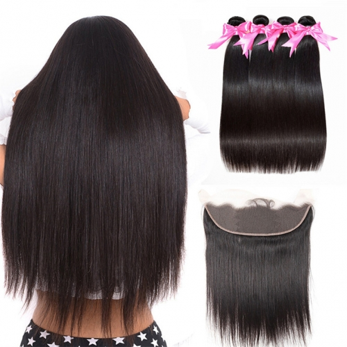 QueenWeaveHair 4 Bundles Straight Human Hair Bundles With Frontal