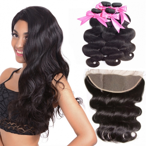 QueenWeaveHair 4 Bundles Body Wave Weave Hair With Frontal For Sale
