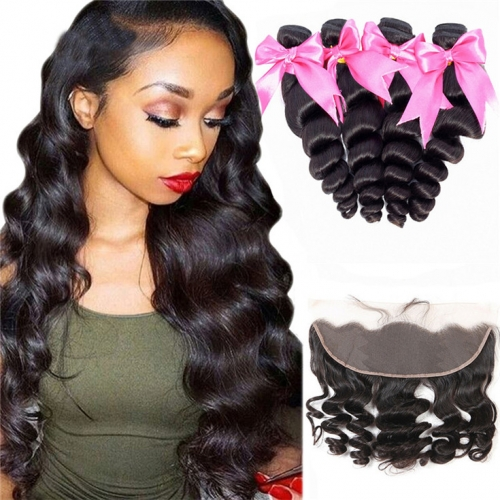QueenWeaveHair 4 Bundles Loose Wave Hairstyles Human Hair Bundles With Frontal