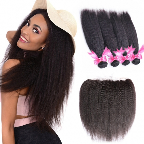 QueenWeaveHair 4 Bundles Kinky Straight Hair Weave With Lace Frontal