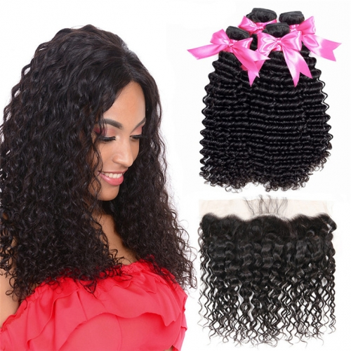 QueenWeaveHair 4 Bundles Deep Curly Cheap Human Hair Weave Packs With Frontal