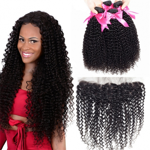 QueenWeaveHair 4 Bundles Afro Kinky Curly Hair Natural Black Hair Extensions With Frontal