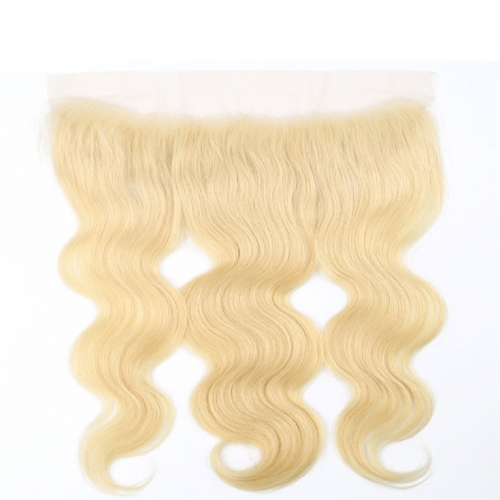 QueenWeaveHair Honey Blonde Body Wave Transparent Lace Frontal With Baby Hair