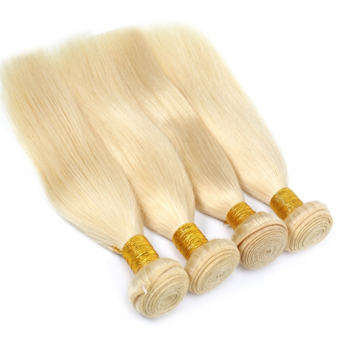 QueenWeaveHair 4 Bundles Straight Honey Blonde Human Hair Weave For Black Women