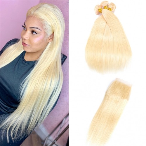 QueenWeaveHair 3 Bundles Platinum Blonde Human Hair Weave With Lace Closure