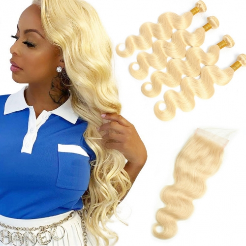 QueenWeaveHair 4 Bundles Body Wave Human Hair Weave Bundles With Closure Blonde