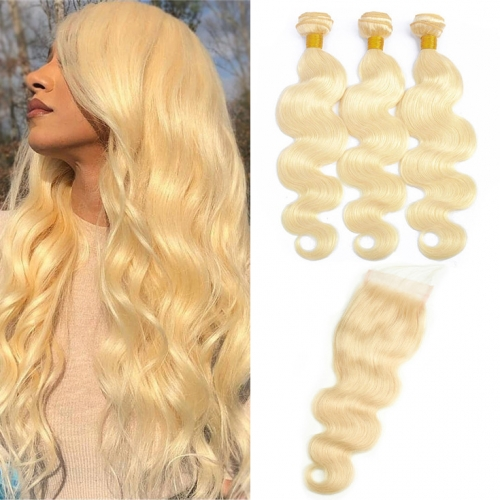 QueenWeaveHair 3 Bundles Honey Blonde Body Wave With Closure