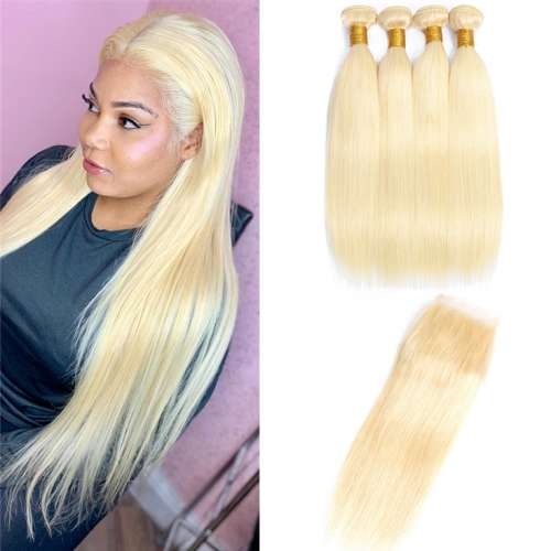 QueenWeaveHair 4 Bundles Human Hair Platinum Blonde Hair Extensions With Lace Closure