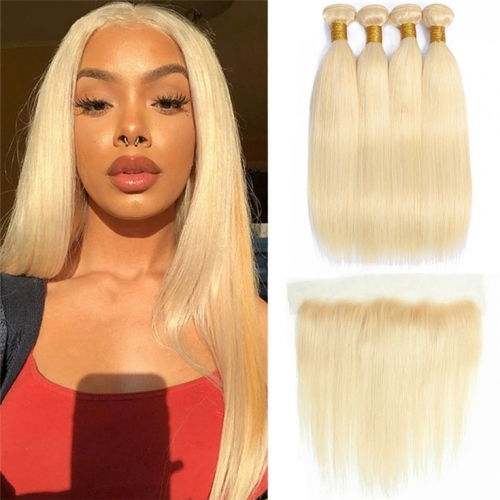 QueenWeaveHair 4 Bundles Straight 613 Honey Blonde Weave Bundles With Frontal