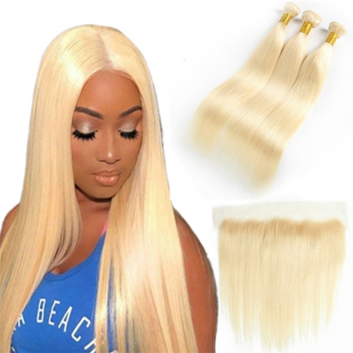 QueenWeaveHair 3 Bundles Straight Platinum Blonde Human Hair Bundles With Lace Frontal