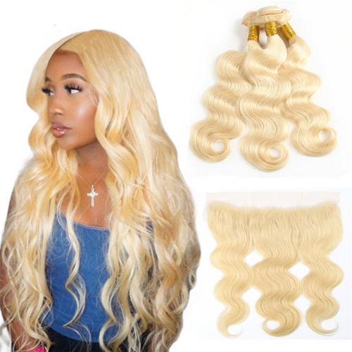 QueenWeaveHair 3 Bundles Real Human Hair Bundles Blonde With Frontal