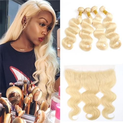 QueenWeaveHair 4 Bundles Body Wave Honey Blonde Weave Hair With Frontal