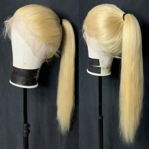 QueenWeaveHair Straight Honey Blonde Human Hair Wig With Baby Hair HD Transparent Lace 613# Single Color