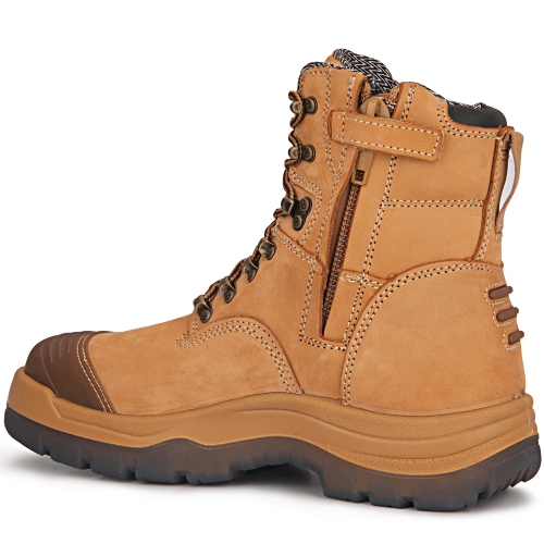 ROCKROOSTER Mens Work Boots, 8'' YKK Zipper Steel Toe, Slip Resistant Safety Oiled Leather Shoes, Breathable, Quick Dry, Anti-Fatigue, AK232Z