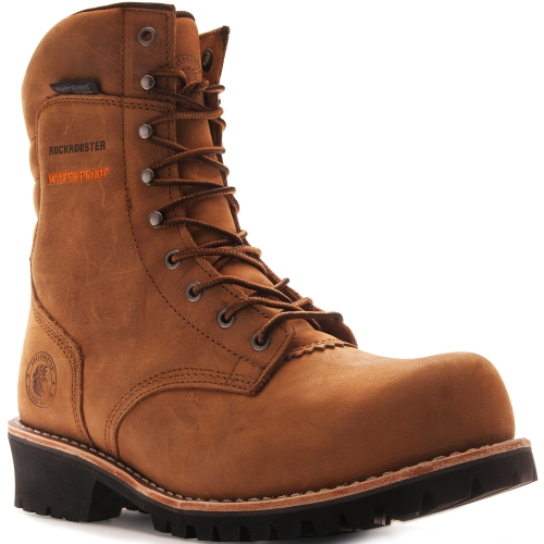 ROCKROOSTER Logger Boots for Men, Composite Toe, 9'' Safety Waterproof Work Boots, Arch Support Anti-Fatigue Shoes AP156