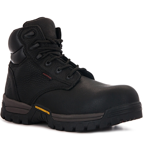 ROCKROOSTER Men's Work Boots, 6'' Waterproof Wide Safety Shoes, Oil Resistant Leather, Kevlar, Memory Foam Insole, Anti-Fatigue AT697PRO Black