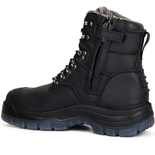 ROCKROOSTER Mens Work Boots, 8'' YKK Zipper Steel Toe, Slip Resistant Safety Oiled Leather Shoes, Breathable, Quick Dry, Anti-Fatigue, AK232Z AK245Z