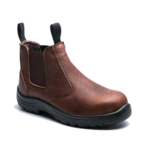 Rockrooster Work Shoes Genuine Leather Safety Shoes Men Proof Working Boots Outdoor Chelsea Ankle Shoes AC628