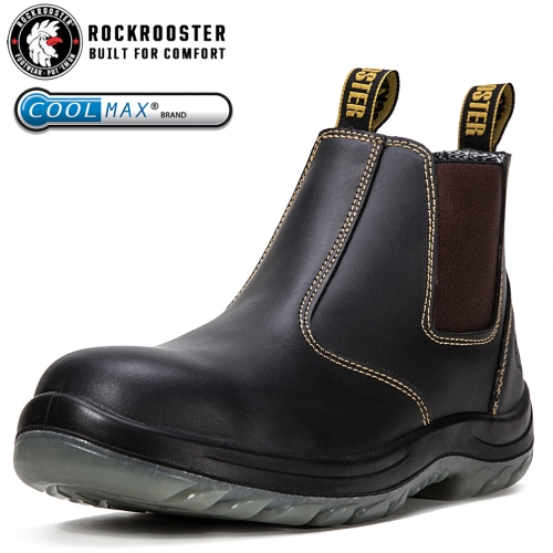 Rockrooster mens work boots 6'' Steel toe Non-Silp Safety Shoes,Pull on Anti-Fatigue Boots AC626