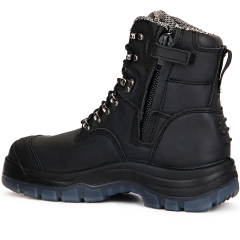 ROCKROOSTER Mens Work Boots, 8'' YKK Zipper Steel Toe, Slip Resistant Safety Oiled Leather Shoes, Breathable, Quick Dry, Anti-Fatigue,AK245Z