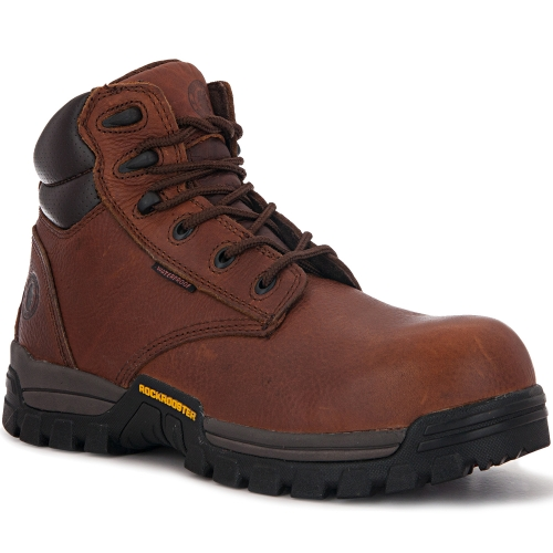 ROCKROOSTER Men's Work Boots, 6'' Waterproof Wide Safety Shoes, Oil Resistant Leather, Kevlar, Memory Foam Insole, Anti-Fatigue AT697PRO Brown