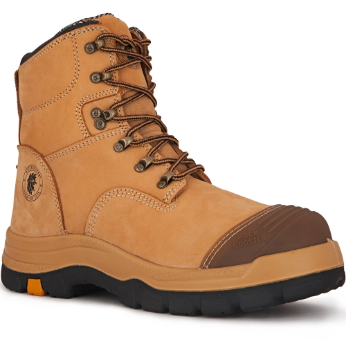 ROCKROOSTER Mens Work Boots, 7'' Steel Toe, Slip Resistant Safety Oiled Leather Shoes, Static Dissipative, Breathable, Quick Dry, Anti-Fatigue, AK232