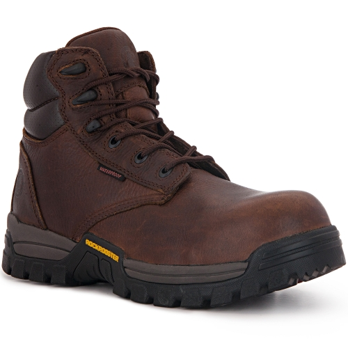 ROCKROOSTER Men's Work Boots, 6'' Waterproof Wide Safety Shoes, Oil Resistant Leather, Kevlar, Memory Foam Insole, Anti-Fatigue AT697PRO Dark Brown
