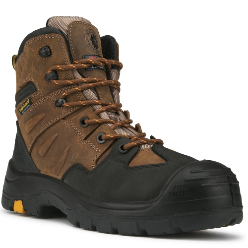 ROCKROOSTER Men's Work Boots, 6''Composite Toe, Non-Slip Rubber Safety Shoes, Hydroguard Waterproof Leather Boot, ASTM F2413-18 I/75 C/75 EH, AK669