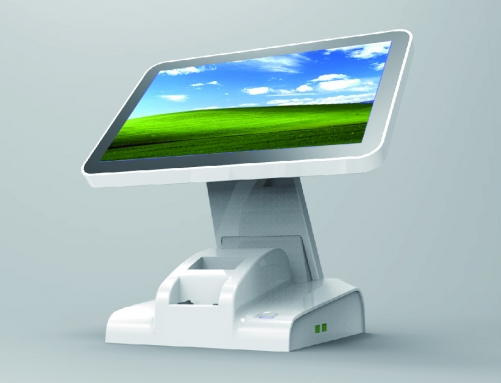 LENVII LV-K8S POS Touch Screen with 57mm Receipt Printer, 15.6 Inches Wide Screen with LED Display, Capacitive Touch, White
