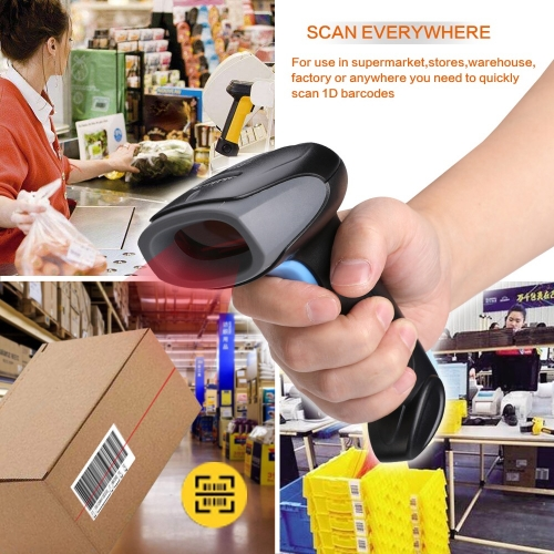 2.4G Wireless Barcode Scanner 1D Handheld Laser Barcode Reader for Warehouse Warehouse Supermarket Express Storage | LENVII CW100