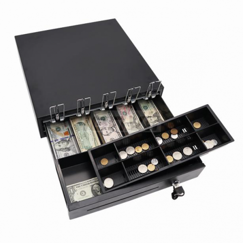 LENVII BQ400AS Cash Drawer, Money Box, Double-layer, Three Gear Lock