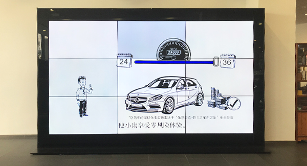 "Video wall lcd de 55 ""3x3 3.5mm para la tienda Benz 4s"