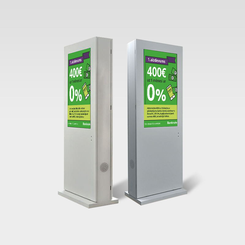 Grey color Straight corner AC cooling outdoor signage kiosk