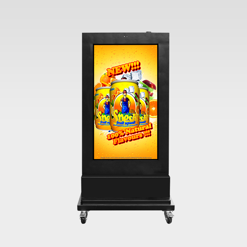 AC free DC battery drived outdoor LCD kiosk with mobile wheels
