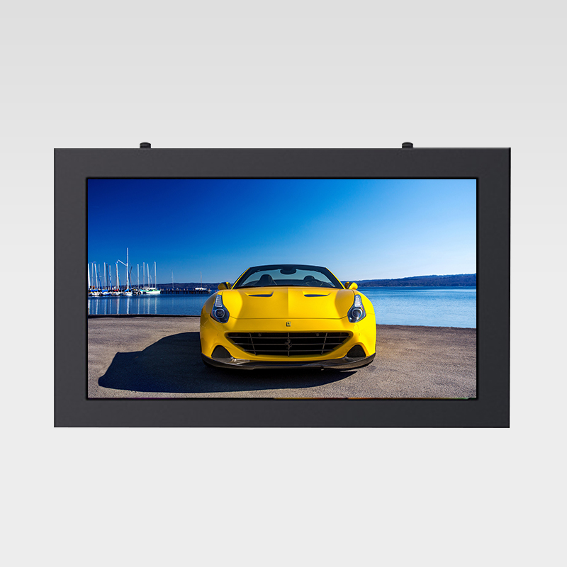 Wall mount landscape square corner outdoor digital signage