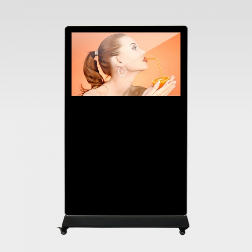 Floor stand landscape LCD digital signage with wheels