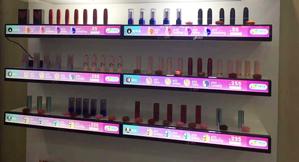 Standing Stretched LCD Shelf digital signage for Cosmetics store