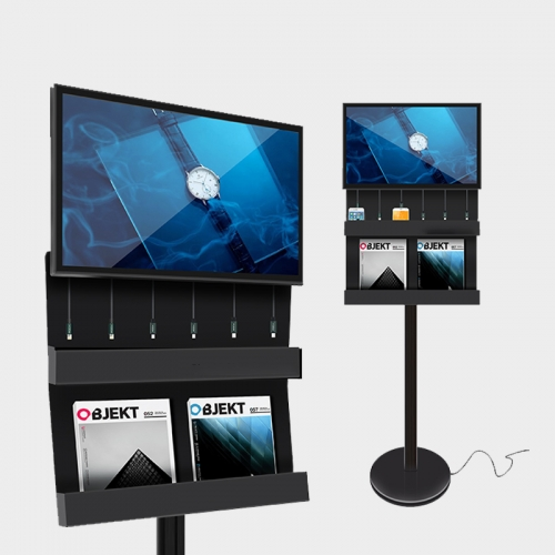 Charging Station Digital Signage with Brochure Holder