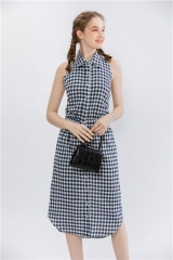 women's backless sleeveless shirtcollar midi dress on cotton blended check