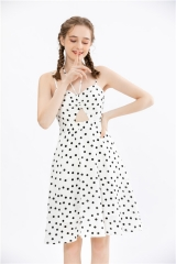 womens spaghetti strap midi dress in dotted print fabric