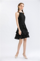 womens halter neck sleeveless dress in dotted print