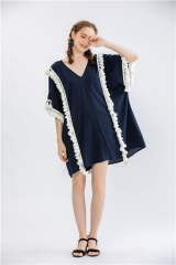 Womens V neck oversize tube dress with fringe decoration pop