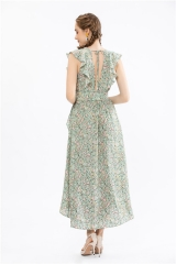women's floral print long dress with ruffles at front and back