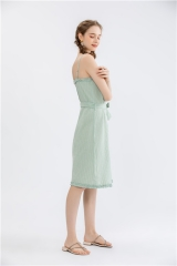 womens halter neck dress with spaghetti strap and frill detail