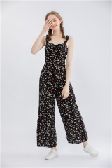 women's jump suit floral print romper with ruffle shoulder strap