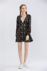 womens floral print short dress deep v neck long sleeve midi dress