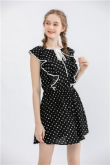 Womens dotted print v neck sleeveless short dress with ruffle at front