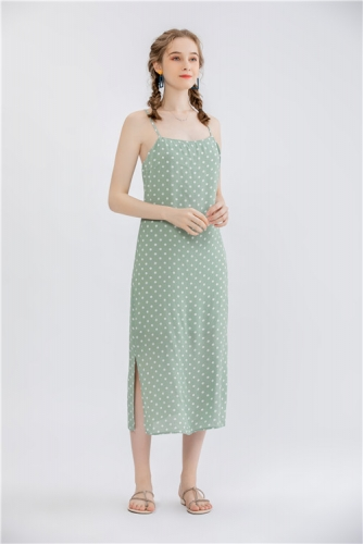 womens dotted print slip dress,long dress with adustalbe shoulder strap
