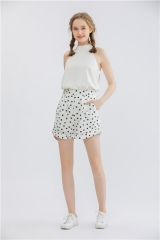 womens dotted print shorts wide leg short pants ,