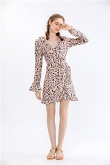 womens leopard print dress long flare sleeve party dress midi dress short dress